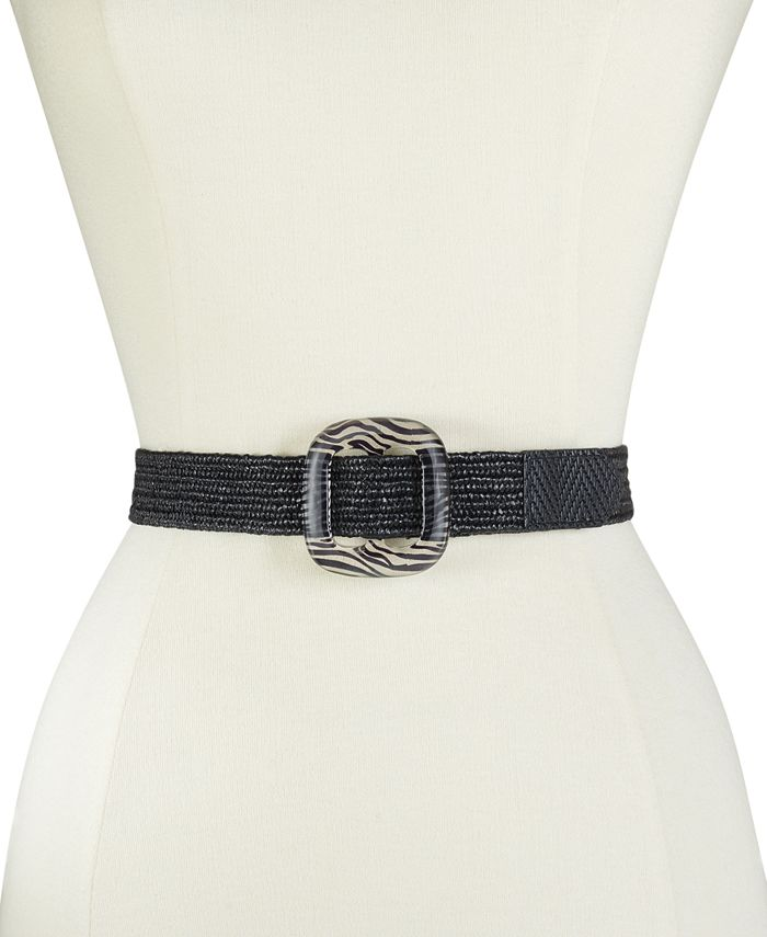 DKNY - Straw Stretch Belt With Pattern Buckle