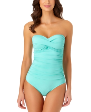 Twist-Front Ruched One-Piece Swimsuit Women's Swimsuit