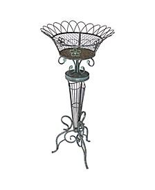 Victorian Basket weave Metal Fern Planter