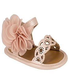 Baby Girls Shimmer Sandal with Flower Ornament and Chop-Outs
