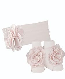 Baby Girls Cotton Headband with Oversized Netting Flower and Matching Peep Toe Socks