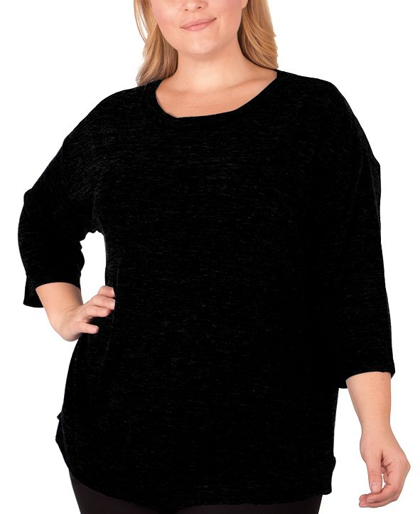 NY Collection Plus Size Crewneck 3/4-Sleeve Top, Created for Macy's