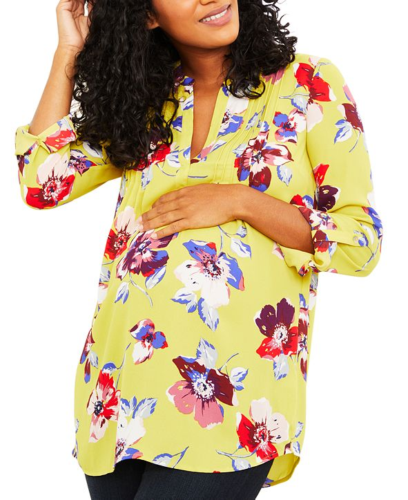A Pea in the Pod Maternity Printed Split-Neck Blouse