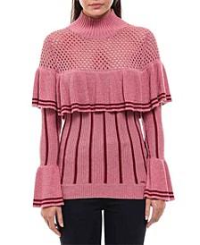Pink Ruffled Knit Sweater