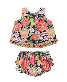 Baby Girls 3 Piece Footless Ruffle Tight Set
