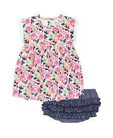 Baby Girl My Best Bud Dress and Faux Denim Ruffle Bloomer Set