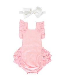 Baby Girl Swiss Dot Flutter Romper and Bow Headband Set