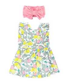 Baby Girl Make Lemonade Cross Back Dress and Big Bow Headband Set