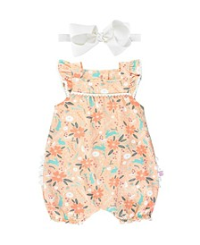 Baby Girl Happily Ever After Flutter Romper and Bow Headband Set
