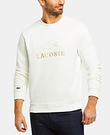 Men's Crew Neck Fleece Sweatshirt with Lacoste Lettering and Crocodile Graphic