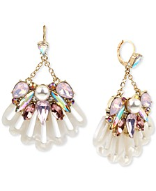 Gold-Tone Crystal & Imitation Pearl Seashell Cluster Chandelier Earrings