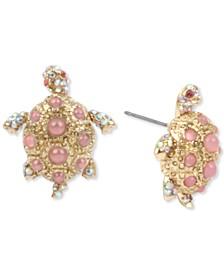 Gold-Tone Pavé & Imitation Pearl Turtle Stud Earrings