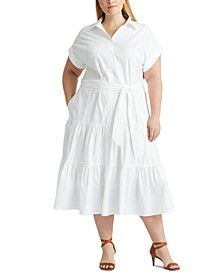 Plus Size Fit-And-Flare Shirtdress