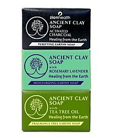 Charcoal + Rosemary Lavender + Tea Tree Clay Soap Bundle 6 oz each