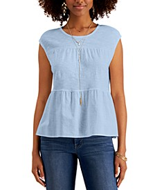 Petite Cotton Tiered Top, Created for Macy's