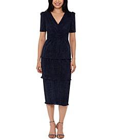 Tiered Shimmer Midi Dress