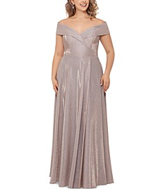 Plus Size Off-the-Shoulder Glitter Gown