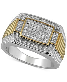 Men's Diamond Two-Tone Cluster Ring (1/2 ct. t.w.) in Sterling Silver & 18k Gold-Plate