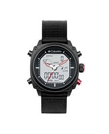 Men's Ridge Runner Black Nylon Analog-Digital Watch 45mm