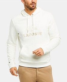 Men's Crew Neck Fleece Hoodie with Lacoste Lettering and Crocodile Graphic