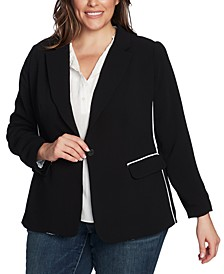 Plus Size Piped Jacket