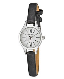 Women's Petite Case Black Polyurethane Strap Watch 23mm