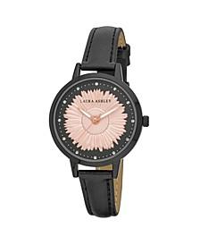 Women's Sunflower Dial Black Polyurethane Strap Watch 38mm