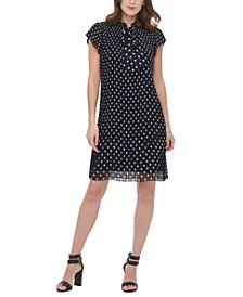 Short-Sleeve Pleated Shift Dress