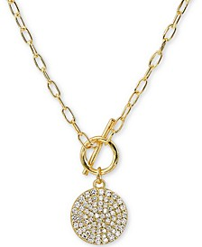 """Cubic Zirconia Pavé Disc 16"""" Pendant Necklace in 18k Gold-Plated Silver"""