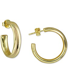 """Small Polished Hoop Earrings in 18k Gold-Plated Sterling Silver, 1"""""""