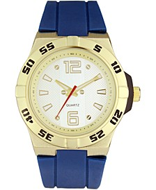 INC Men's Blue Silicone Strap Watch 45mm, Created for Macy's