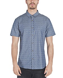 Men's Antz Regular-Fit Textured Geo-Print Chambray Shirt