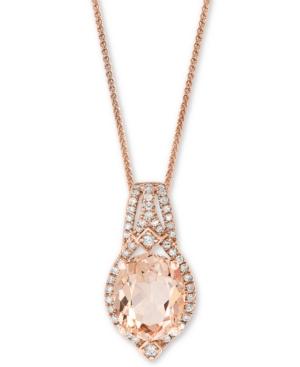 "Morganite (2-3/4 ct. t.w.) & Diamond (1/5 ct. t.w.) 18"" Pendant Necklace in 14k Rose Gold"