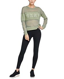 Sport Mesh-Blocked Long-Sleeve Top