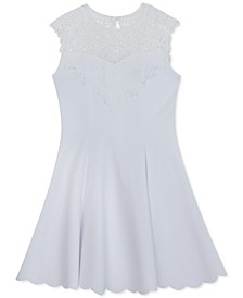 Big Girls Lace-Trim Scuba Crepe Skater Dress