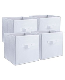 Non-woven Polypropylene Cube Solid White Square Set of 4