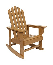 Classic Wooden Adirondack Rocking Chair with Cedar Finish