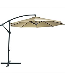 10' Offset Cantilever Outdoor Patio Umbrella with Crank and Cross Base