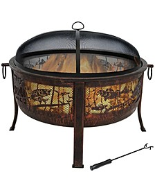 """Northwood's Fishing Fire Pit 30"""" Diameter with Spark Screen"""