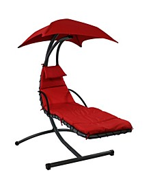 Floating Chaise Lounger Outdoor Hanging Hammock Patio Swing Chair with Canopy and Stand