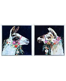"""Brown White Llama on Reverse Printed Glass Art and Anodized Aluminum Frame Wall Art, 16"""" x 16"""" x 1"""""""