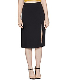 Woven Front-Slit Skirt