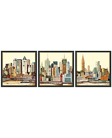 """New York Skyline ABC Dimensional Collage Framed Graphic Art Under Glass Wall Art, 25"""" x 25"""" x 1.4"""""""