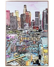 "City View Colorful Drawing on Reverse Printed Art Glass and Anodized Aluminum Frame Wall Art, 36"" x 24"" x 1"""