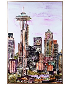 """Seattle's Skyline Colorful Drawing on Reverse Printed Art Glass and Anodized Aluminum Frame Wall Art, 36"""" x 24"""" x 1"""""""
