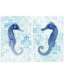 "Marine Morocco I and II Frameless Free Floating Tempered Art Glass Wall Art, 48"" x 32"" x 0.2"""