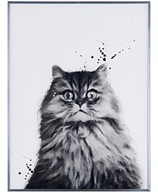 """Nebelung Pet Paintings on Reverse Printed Glass Encased with a Gunmetal Anodized Frame Wall Art, 24"""" x 18"""" x 1"""""""