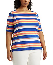 Plus Size Striped Cotton-Blend Top