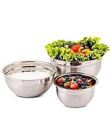 Premium 3 Piece Mixing Bowls with Lids Set