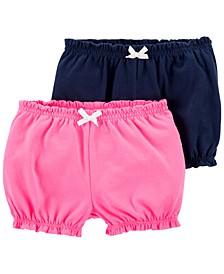 Baby Girls 2-Pk. Cotton Pull-On Bubble Shorts